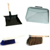 Dust pan and hand brushes
